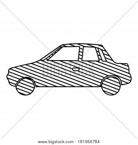 monochrome silhouette of automobile to striped vector illustration