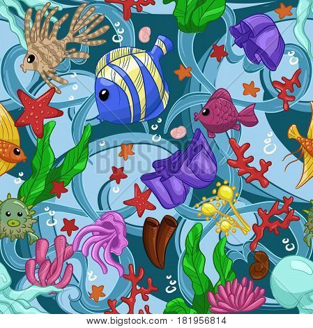 Seamless pattern with marine life: fish, starfish, jellyfish, seaweed, shells, bubbles and corals. Hand draw art