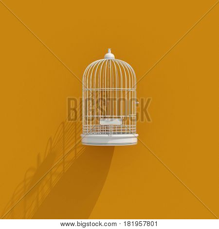 3d render: 3d Bird Cage Icon on Orange Background, Lack of Independence