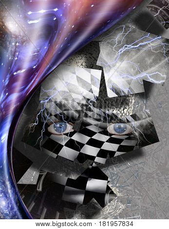 Complex surreal painting. Woman's face with chess pattern, square elements. Winged clocks represents flow of time. Warped space.  Some elements provided courtesy of NASA