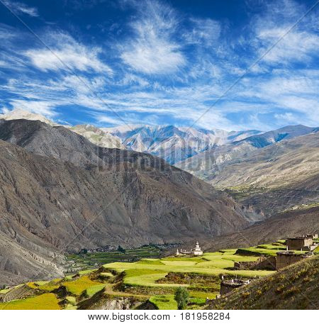 Panorama Of Saldang Village And Ancient Bon-po Stupa In Upper Dolpo, Nepal