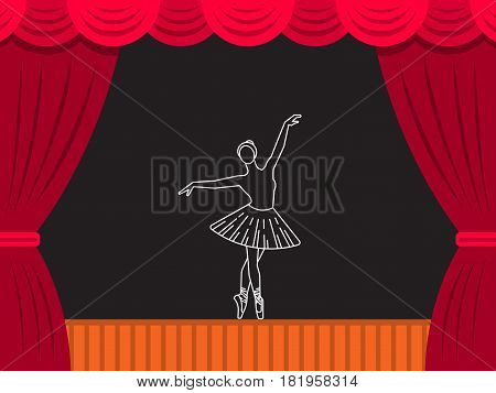 Vector theater scene which depicts the figure of a girl ballerina in a tutu in a dance position. Ballet vector illustration in flat style