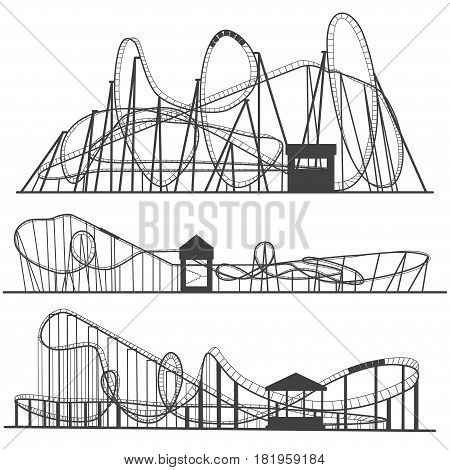 Set of silhouettes Roller coaster. Rollercoaster or amusement park rollers isolated on white background.