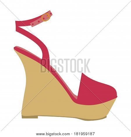 color silhouette of sandal shoe with platform sole vector illustration