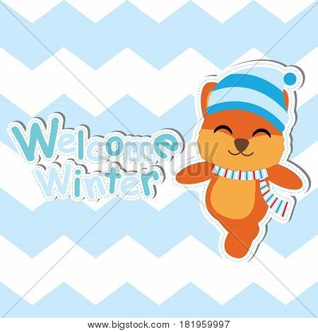 Cute Fox on blue chevron background vector cartoon, Baby shower postcard, wallpaper, and greeting card, T-shirt design for kids vector illustration