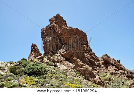 View of the famous Pico del Teide mountain with Roque Cinchado Tenerife Canary Islands Spain