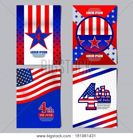 4th of july USA flag banner layout template design vector illustration.