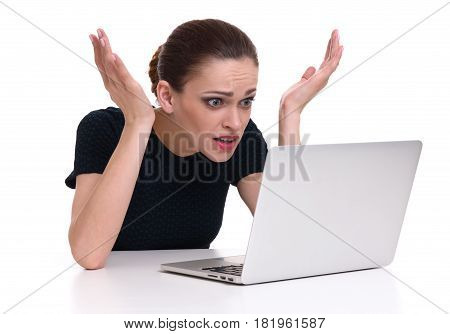 Shocked Woman With Laptop Computer