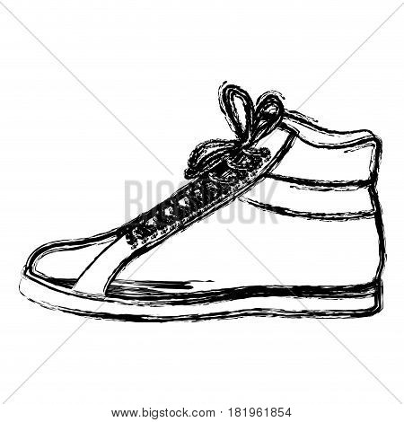 monochrome blurred contour of male leather boot with shoelaces vector illustration