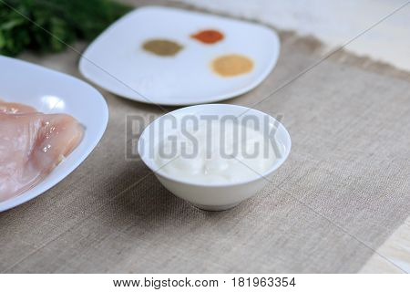 Sauce In A Plate, Mayonnaise In A Plate, Home-made Sauce, Sauce Caesar, A Lemon, Greens