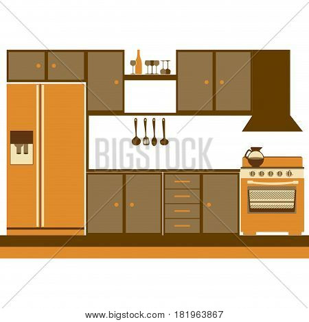 color silhouette of kitchen cabinets with stove and fridge vector illustration
