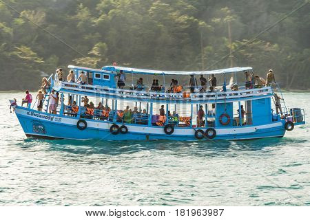 People On A Wooden Ferry In Ko Samet, Thailand