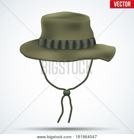 Classic military boonie hat with foliage ring. Olive color. Vector Illustration isolated on background.