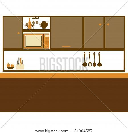 color silhouette of kitchen with top cabinets vector illustration