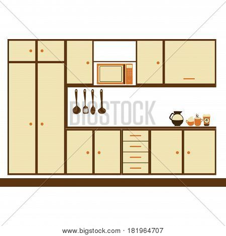 color silhouette with modern kitchen cabinets vector illustration