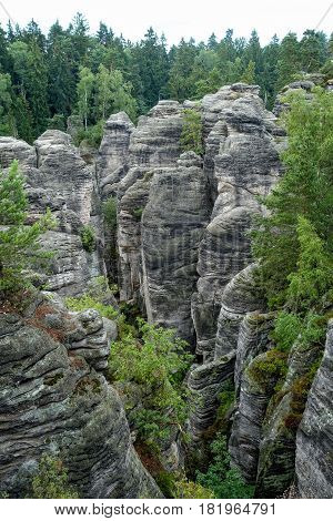 Rock pillar nature park in the Czech Republic. View from the mountain tops.