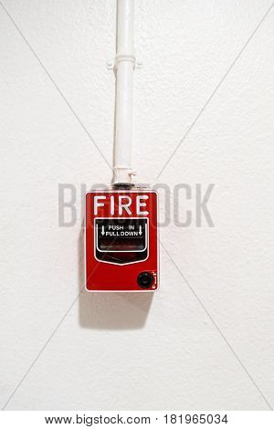 Fire breaker box on wall background., Fire protection system.