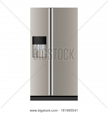 colorful realistic fridge with water dispenser vector illustration