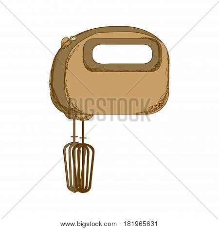 sepia silhouette with kitchen mixer vector illustration
