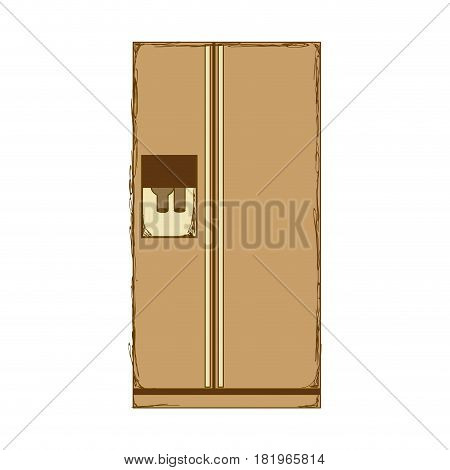 sepia silhouette of fridge with water dispenser vector illustration