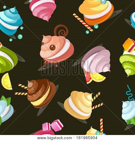 Seamless pattern multicolored marshmallows meringue decorated with chocolate candies on a black background