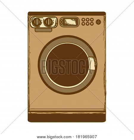 sepia silhouette with washing machine vector illustration