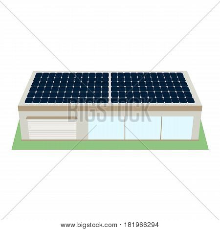 Buiding with sun panels isolated on white background. 3D icon of ecological house for web. Produse of clean energy. Vector illustration in flat style.