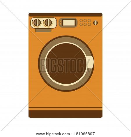 aged silhouette with washing machine vector illustration