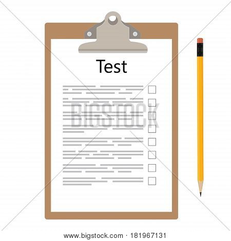 Vector illustration test exam paper on clipboard and pencil. Exam or survey concept icon. School test. School exam.