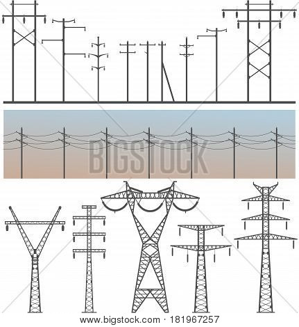 Vector image set of high-voltage poles on a white background design element