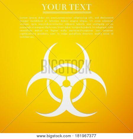 Biohazard symbol flat icon on yellow background. Vector Illustration