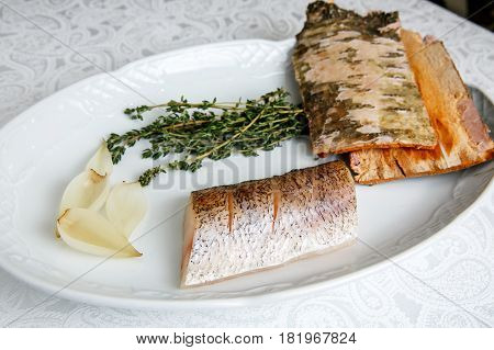 Raw Fillets Of Zander In A Plate