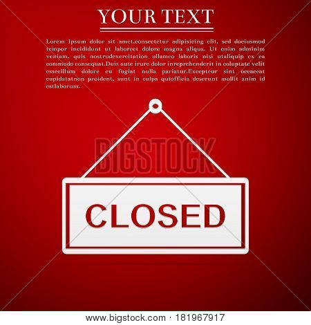 Closed door sign flat icon on red background. Vector Illustration
