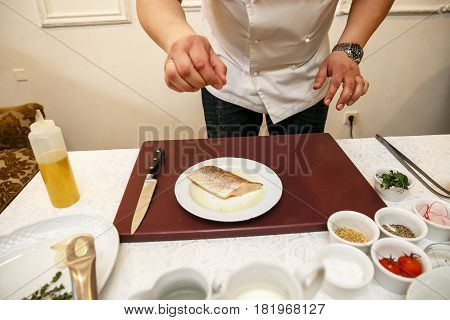 Cook Cooks Fish Dish - Baked Fillet Of Pikeperch, Zander