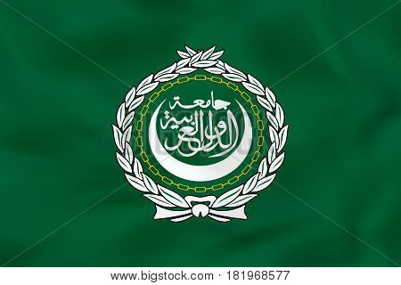Arab League Waving Flag. Arab League National Flag Background Texture.