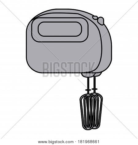 grayscale silhouette with kitchen mixer vector illustration