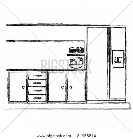monochrome sketch of lower kitchen cabinets with fridge vector illustration
