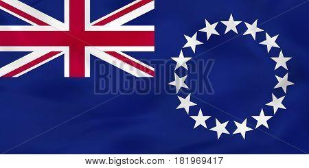 Cook Islands Waving Flag. Cook Islands National Flag Background Texture.