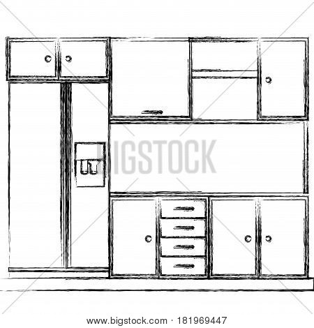 monochrome sketch of kitchen cabinets with fridge vector illustration