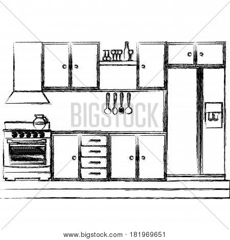 monochrome sketch of kitchen cabinets with stove and fridge vector illustration