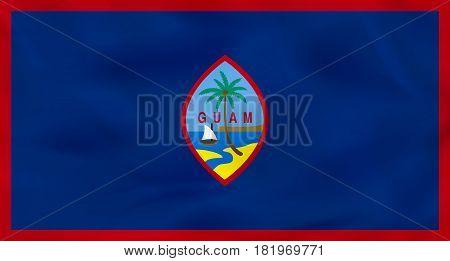 Guam Waving Flag. Guam National Flag Background Texture.
