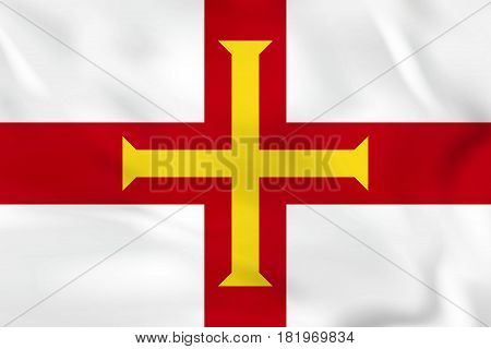 Guernsey Waving Flag. Guernsey National Flag Background Texture.