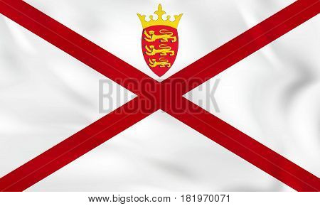 Jersey Waving Flag. Jersey National Flag Background Texture.