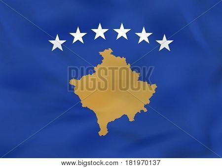 Kosovo Waving Flag. Kosovo National Flag Background Texture.