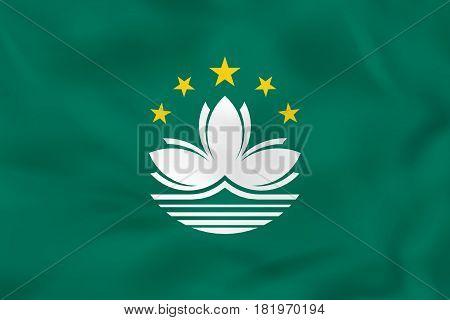 Macau Waving Flag. Macau National Flag Background Texture.