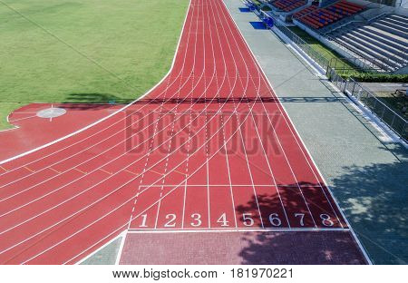 Athlete Track Or Running Track With Numbers 6 To 8