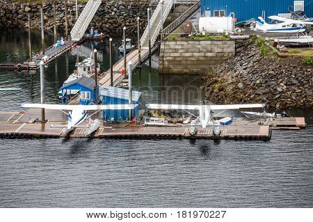 Seaplanes at a dock in the Pacific Northwest