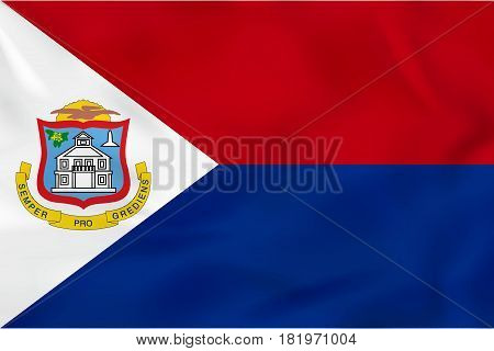 Sint Maarten Waving Flag. Sint Maarten National Flag Background Texture.