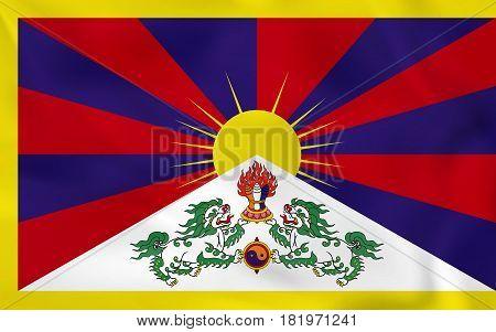 Tibet Waving Flag. Tibet National Flag Background Texture.