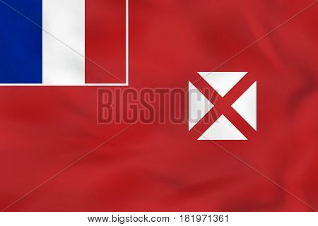 Wallis And Futuna Waving Flag. Wallis And Futuna National Flag Background Texture.